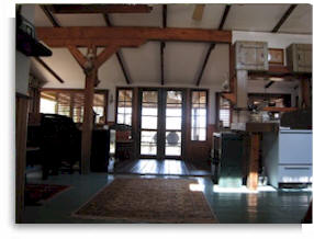 Interior view of the Tree House for private meditation retreats.