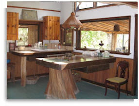 A vegetarian diet may be prepared in the kitchen of the private retreat cabin